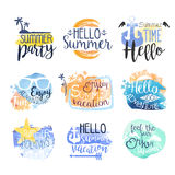 Summer Vacation Promo Signs Colorful Set Stock Photos