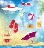 Summer vacation related objects Stock Images