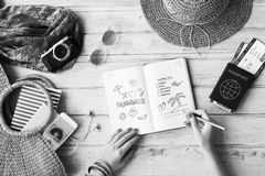 Summer Vacation Relax Drawing Diary Concept royalty free stock photo