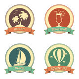 Summer vacation retro badges set Royalty Free Stock Photography