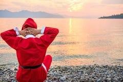 Summer vacation santa claus Royalty Free Stock Image
