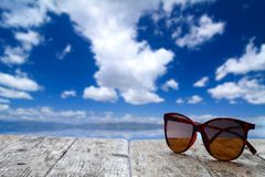 Summer vacation scene and sunglasses Stock Image