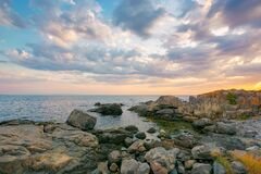 Summer Vacation Scenery By The Sea At Sunrise Stock Image