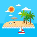 Summer vacation on sea background. Tropical island with palm trees, waves, sun, straw umbrellas, towel, sail ship Stock Photography