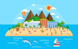 Summer vacation on sea banner. Bright travel summer island landscape in flat style. Beach island with mountains, hotels royalty free illustration