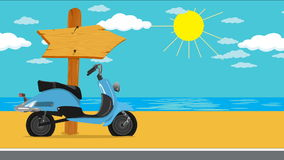 Summer vacation by the sea. Blue Motor scooter on the beach with a wooden arrow pointer, tropical, sandy coast. Place your text or image on the board. Animation stock footage