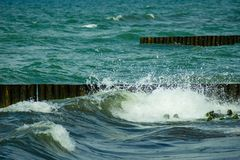 Summer vacation on the Sea - seascape with beautiful wave and breakwaters. stock image