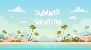 Summer Vacation Sea Shore Sand Beach Blue Sky Sun. Vector Illustration Royalty Free Stock Photography