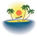 Summer vacation - the sea, the solitary island, sand and palm trees. Royalty Free Stock Photo