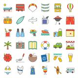 Summer vacation filled outline icon set