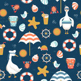 Summer vacation seamless pattern with cute goose. Stock Photos