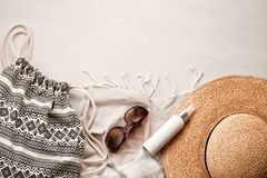 Summer vacation at the seaside concept flat lay. Beach accessories and sea shells top view Stock Photo