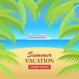 Summer Vacation on Seaside Concept Illustration vector illustration