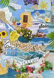 Summer vacation season Atmosphere mood board collage. In color blue,green and yellow made of teared magazine and printed matter paper with flowers, beach, sea Royalty Free Stock Photo