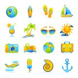 Summer Vacation Set. Summer vacation beach holidays icons set with cocktail palm glasses camera isolated vector illustration Royalty Free Stock Image