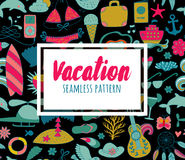 Summer vacation set doodle elements, seamless pattern Royalty Free Stock Images