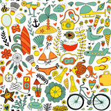 Summer vacation set doodle elements, seamless pattern Stock Photos