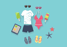Summer vacation set of icons. Summer seaside holiday vector illustration with a conceptual arrangement of a female swimsuit, male clothing, sunglasses, slip Stock Image
