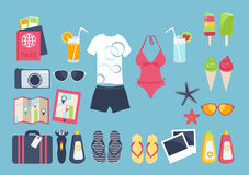 Summer vacation set. Summer seaside holiday  illustration with a conceptual arrangement of a female swimsuit, male clothing, sunglasses, slip slops, ice cream Royalty Free Stock Image