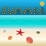 Summer vacation. Summer sign on the sky made from suns, blue ocean and sandy beach with a starfish and shells Stock Photo