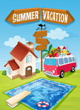Summer vacation sign with van and pool Stock Image