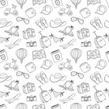 Summer vacation sketch doodle seamless pattern. Black and white Stock Photos