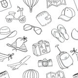Summer vacation sketch doodle seamless pattern. Black and white Royalty Free Stock Image