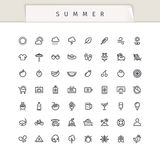 Summer and Vacation Stroke Icons Set. On white background. Clipping paths included in JPG file Royalty Free Stock Images