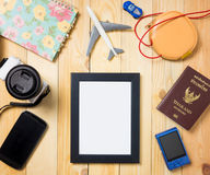 Summer vacation stuffs with blank photo frame Stock Photo