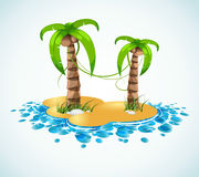 Summer vacation stylish background. Island abstraction with two situated fresh palm trees Stock Photography