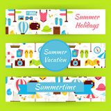Summer Vacation and Summer Time Vector Template Banners Set in M Royalty Free Stock Photos
