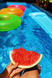 Summer Vacation. Summertime Fun. Watermelon By Swimming Pool. Royalty Free Stock Photography
