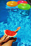 Summer Vacation. Summertime Fun. Watermelon By Swimming Pool. Fruit Royalty Free Stock Image
