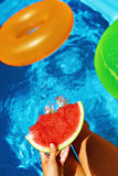 Summer Vacation. Summertime Fun. Watermelon By Swimming Pool. Fruit Royalty Free Stock Photos