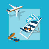 Summer vacation. Summertime traveling template with beach summer accessories, vector illustration Stock Photo