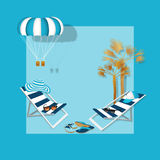 Summer vacation. Summertime traveling template with beach summer accessories, vector illustration. Beach chair, palm, hat, flip flops, parasailing and sunglasses Royalty Free Stock Images
