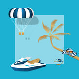 Summer vacation. Summertime traveling template with beach summer accessories, vector illustration. Palm, jet ski, parasailing, hat, flip flops and sunglasses Royalty Free Stock Photo