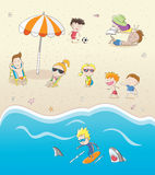 Summer vacation on the sunny beach. Cute cartoon illustration Summer vacation on the sunny beach Royalty Free Stock Photos