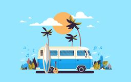 Summer vacation surf bus sunset tropical beach retro surfing vintage melody greeting card horizontal template poster