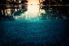 Summer vacation swimming pool background in vintage style with water level turquoise water as travel holidays lifestyle. Background stock photos