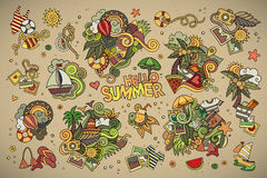 Summer and vacation symbols and objects Stock Images