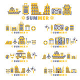 Summer Vacation Symbols Set By Five In Line Collection Of Clipart Vector Royalty Free Stock Images