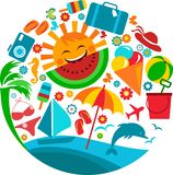 Summer vacation; template of summer icons. Illustration Stock Photos