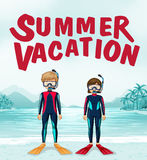 Summer vacation theme with divers Stock Image