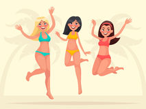 Summer vacation. Three happy girlfriends are jumping on a backgr Royalty Free Stock Image