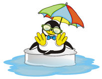 Summer vacation to penguin boy. Cool penguin boy swimming on the ice and sitting under colorful umbrella and smiling vector illustration