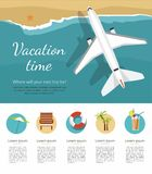 Summer Vacation and Tourism. Airplane flies over a sea, view from above. Icon. Infographic vector illustration