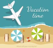 Summer Vacation and Tourism.Airplane flies over a sea. View from above. Summer Vacation and Tourism. Airplane flies over a sea. Vector Illustration royalty free illustration