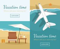Summer Vacation and Tourism. Chaise lounge and umbrella on the beach. Airplane flies over a sea. royalty free illustration