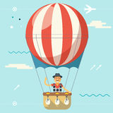 Summer Vacation Tourism and Journey Travel Lifestyle Concept Planning Symbol Happy Man Geek Hipster Flying Sky Dirigible. Summer Vacation Tourism Journey Travel Stock Photos